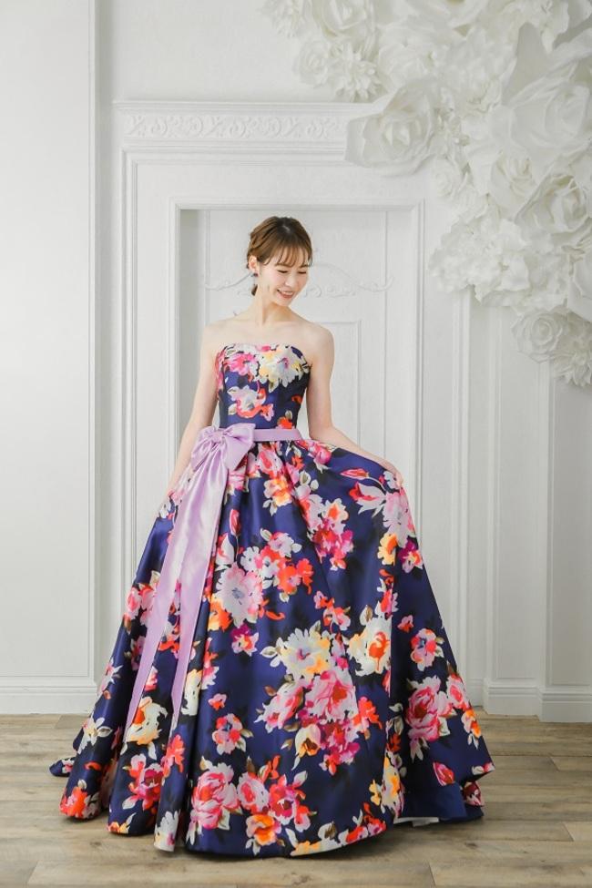 N【3252】ネイビー×花柄×カラードレス